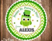 Printable St. Patrick's Day Gift Tags, Owl Saint Patricks Tag, Printable Hang Tags, Owl Hang Tags, DIY, Digital File