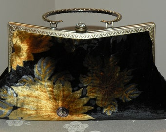 Silk Velvet Clutch/Purse/Bag..Bridal/Wedding/Evening..9inch Fancy Frame..Wrap available..Velvet Devore Floral/Sun Flower..Black Brown Gold