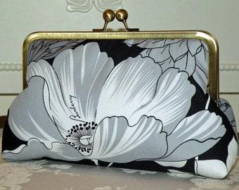 Exotic Poppy/Chrysanthemum Clutch/Purse/Bag/Long Island Bridal/Wedding Gift..Silk Lined/Repurposed Burberry fabric/Black White/Free Monogram