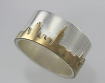 New York City Skyline Ring Sterling Silver with Brass (Made to Order)