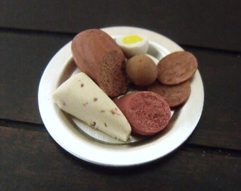 1.12th Scale Dolls House Miniature Food item, Pate, Meats and Egg on Metal Plate