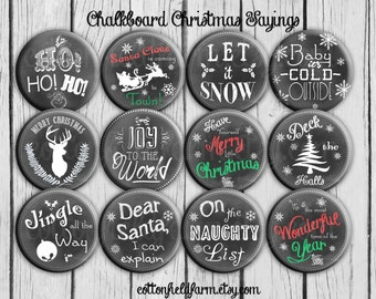 Chalkboard Christmas Special Subway Art 2.25 Pinback buttons Set of 12  for Christmas, Party Favors, Gifts, Decorations