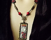 Unique necklace made with vintage playing card , King of Hearts