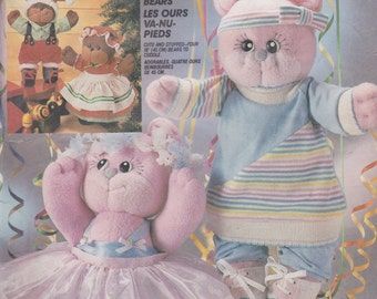 McCall's Crafts 2818 Bearfoot Bears and Clothes Pattern Vintage UNCUT Pattern