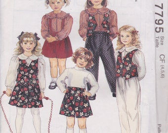 MccCall's 7795 Girls' Lined Vest, Blouse, Pants and Shorts Sizes 4, 5, 6 UNCUT Pattern School Clothes