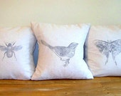 set of three spring pillow covers / bird / bee / butterfly / moth / nature / natural / bumble bee / gray / vintage style / sprin
