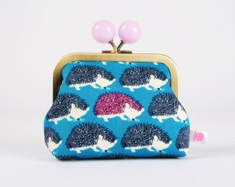 Metal frame coin purse with color bobble - Big hedgehogs in blue, navy and plum - Color dad / Japanese fabric