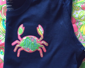 Monogrammed Lilly Pulitzer Crab Applique Shirt