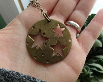 Brass Star Chain Necklace. Superstar Necklace