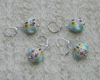 owl crochet stitch markers - knitting stitch markers - removable - ceramic aqua blue green owl beads