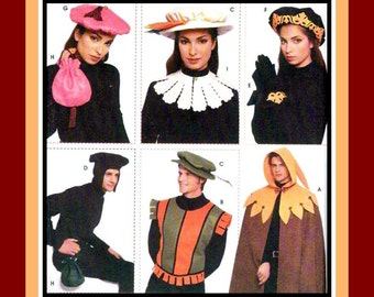 RENAISSANCE WARDROBE ACCESSORIES-Adult Sewing Pattern-Hats-Capes-Vest-Bags-Capelet-Cuffs-Applique Detail-In Felt-Uncut-All Sizes-Rare-Opp