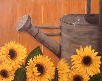 "24"" x 18"" x 3/4 "" Sunflowers""  Original Acrylic Painting - By Maite-  Handmade"