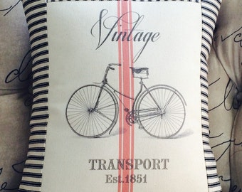 Vintage Bicycle French Red Grain Sack Pillow, Black and Off  White Ticking Stripe Pillow, Decorative Throw Pillow