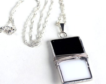 Classic Black and White Stained Glass Pendant - Jewelry Pendant -Wire Wrapped - Handmade