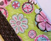 Journal Cover Quilted ModernFloral Lime Green Pink Brown Flowers with Notebook and Pen Included