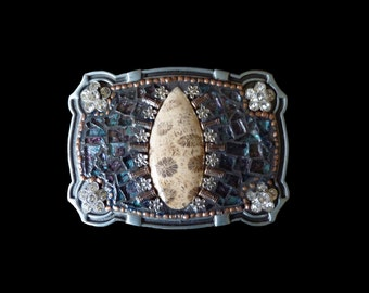 Mosaic Belt Buckle with Coral Fossil Gemstone