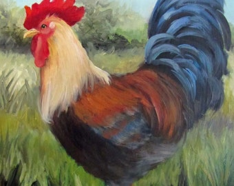Rooster Painting, Animal,Bright Colored Rooster,Original Oil on Canvas by Cheri Wollenberg
