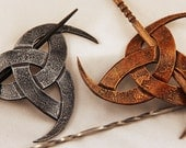 Horns of Odin Leather Hair Barrette, Viking, Pirate, SCA, LARP