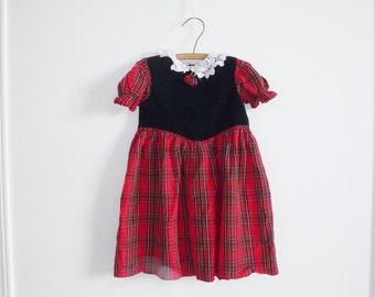 Vintage Red and Black Girl's Dress