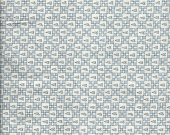 Price Reduced!  Blue Hearts & Squares (5174-11) - BTY - Henry Glass