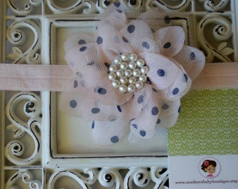INVENTORY BLOWOUT SALE----Boutique Baby Girl Headband---Blush Pink Dot----Floral Vintage Collection