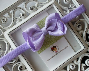 New Item----Boutique Baby Girl Hair bow Dainty Headband-----Lavender----Makes a Perfect Gift