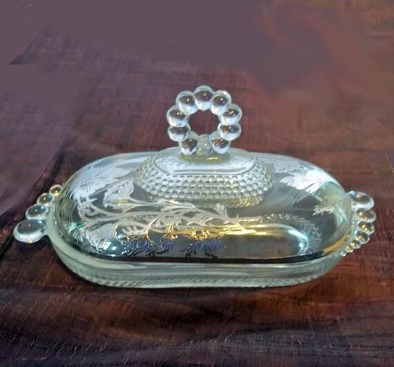 Vintage Duncan Amp Miller Teardrop Butter Dish W Sterling