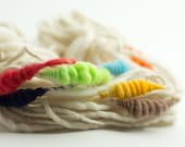 Happy ShellS, HandSpun Merino Single Yarn with coils, Bulky, 15 yards, art yarn, rainbow yarn