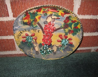 Vintage 1930s/40s Charming Mexican Folk Art Pottery Wall Plaque of Desert Scene