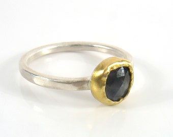 Free form small rosecut Sapphire, can be wear alone or stack with other sapphires or underneath the hollow silver ring.You choose your color