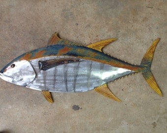 Yellow Fin Tuna Fish 36in Metal Sculpture Tropical Beach Coastal Wall Art