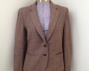 vintage TWEED Newport blazer sport jacket brown career S/M nerd