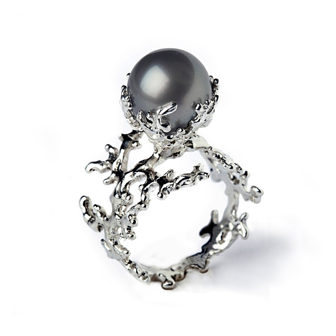 white coral tahitian pearl ring black pearl engagement by