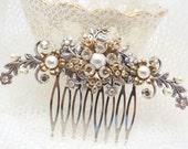 Vintage Bridal hair comb, Wedding hair comb, Mixed metals hair comb, Swarovski crystal headpiece, Flower headpiece