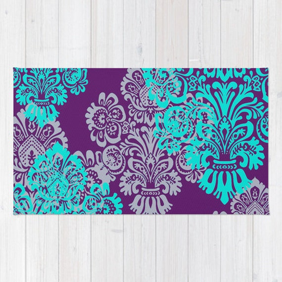 Floor Rug Teal Decor Girls Room Decor Damask Jewel Tone By