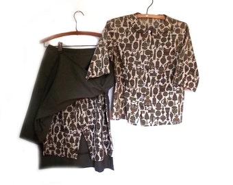 50s Blouse Skort Skirt Combo Vintage Campers Oufit  Vintage Shorts 26 Inch Waist