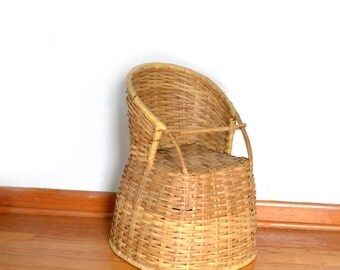 Wicker High Chair Vintage Antique Baby Doll Chair Basket Chair