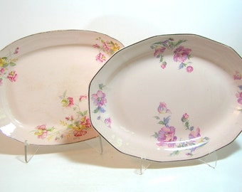Pink Cottage Style Floral Oval Platters