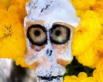 Whimsical Zombie, Skull Necklace, Handmade Pendant