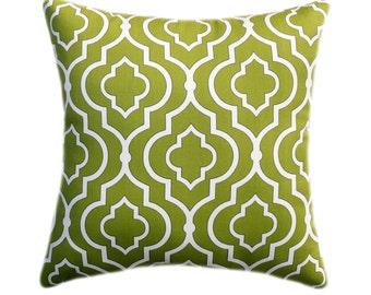 Green STUFFED Throw Pillow, Green Moroccan Trellis Pillow, Mill Creek Donetta Tea Leaf Green Throw Pillow. Christmas Pillow - Free Ship