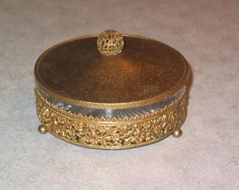 mid century ormolu pierced ball finial brass & starburst crystal divided round jewelry trinket box flower bouquet