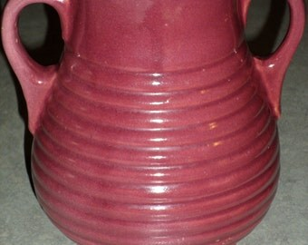 McCoy Pottery ringware rings burgundy maroon yellowware stoneware Vase with handles 1920's