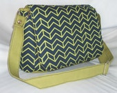 Purse with Flap Shoulder Bag Crossbody Medium-Sized Bag Chevron Navy Blue and Lime Green