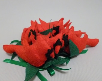 6 Hand Sewn Felt Winter Red Cardinals Gift Ties On