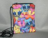 Wallet on a String - Sling Purse - Small Mini Bag Purse - Zipper Pouch - Cats - Laurel Burch