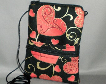 Sling Bag - Passport Purse - Small Mini Purse - Wallet on a String - Hearts - Valentine