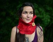 Felt Red Riding Hood Fairy Flower Pin Autumn Woodland Neck Cowl Scarf OOAK