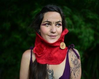 SALE was 51USD - Felt Red Riding Hood Fairy Flower Pin Autumn Woodland Neck Cowl Scarf OOAK