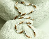 Copper Scarf Slide, Scarf Ring, Wedding Favor - Copper Diamond Cut  Wire with Heart Shaped Ends