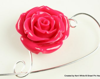 Pink Resin Rose Shawl Pin, Scarf Pin, Brooch - Scarf Accessory, Knitting Accessory, Knitting Pin, Jewelry Brooches, Gift for Knitters